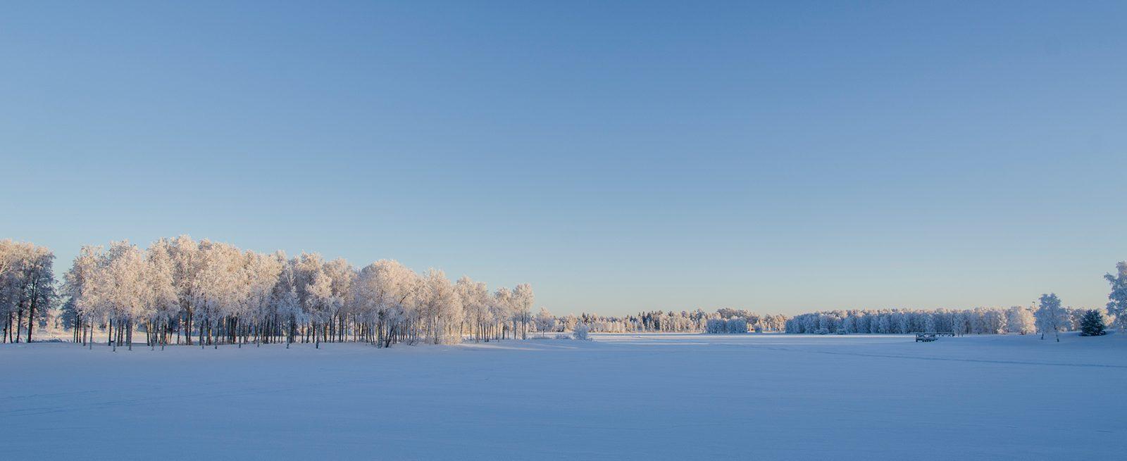 Talvinen maisema lumipeitteisen järven siniseltä ulapalta.