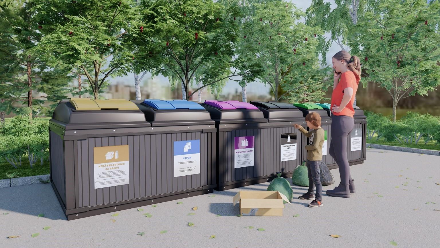Kuvassa aikuinen ja lapsi tuovat keräsysastioihin lajittelemiaan jätteitä.